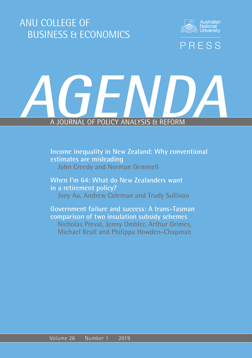 Agenda - A Journal of Policy Analysis and Reform: Volume 26, Number 1, 2019