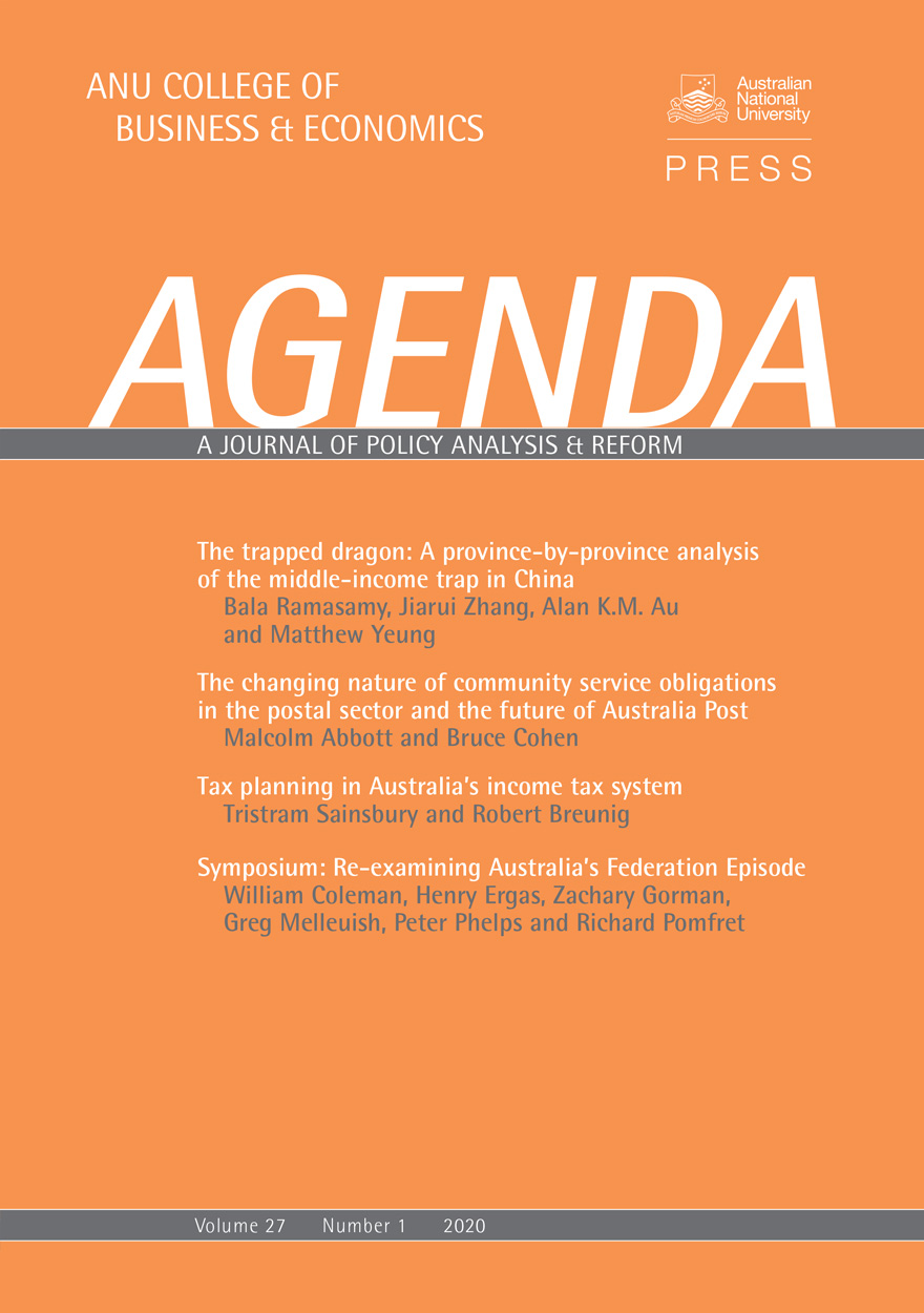 Agenda - A Journal of Policy Analysis and Reform: Volume 27, Number 1, 2020